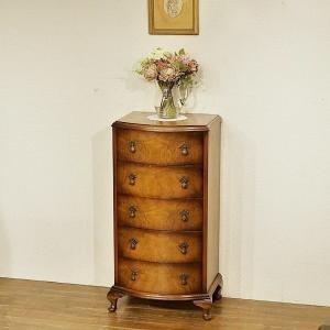 英国アンティーク家具 チェスト 人気のスリムタイプ 杢目の綺麗なボウフロント マホガニー イギリス 8396 qs-antiques