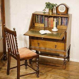英国イギリスアンティーク家具 ライティングビューロー ツイストレッグ デスク オールドオーク材 無垢 8450|qs-antiques