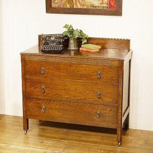 英国イギリスアンティーク家具 3段チェスト オーク材 樫 ナラ材 8509 qs-antiques