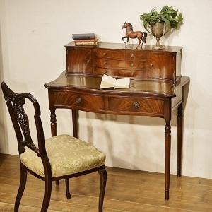 英国イギリスアンティーク家具 天板本革貼りマホガニー材  デスク 机 8536|qs-antiques