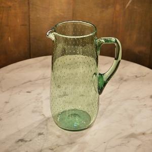英国イギリスアンティーク Whitefriars グリーン ジャグ 花瓶 James Powell&Sons 8598|qs-antiques