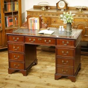 英国イギリスアンティーク家具 デスク 両袖机 天板本革貼り レザー 8602|qs-antiques
