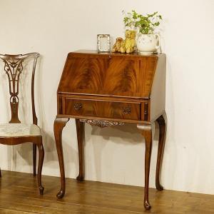 英国イギリスアンティーク家具 ライティングビューロー デスク 机 マホガニー材 クイーンアンレッグ 猫脚 8627|qs-antiques