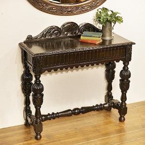英国アンティーク家具 1890年 ビクトリアン オーク材総無垢 美しい彫刻 バルボスレッグテーブル コンソールテーブル 8638|qs-antiques
