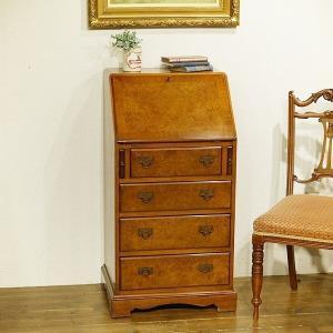 英国イギリスアンティーク家具 ライティングビューロー 珍しいスリムタイプ 杢目も綺麗 デスク  机 8645|qs-antiques