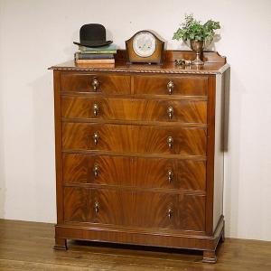 英国イギリスアンティーク家具 美しい杢目 マホガニー チェスト 引出し6杯 大容量 8646W qs-antiques