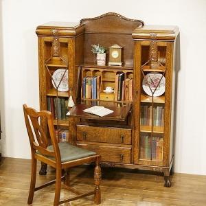 送料無料★英国イギリスアンティーク サイドバイサイド 本棚 ビューローブックケース デスク 机 8647W|qs-antiques
