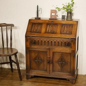 英国イギリスアンティーク家具 ライティングビューロー 書棚本棚 デスク 机 オーク材 8655|qs-antiques