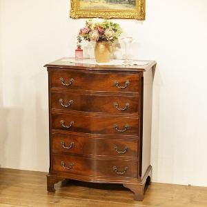 英国イギリスアンティーク家具 マホガニー材 美しい杢目 ボウフロント チェスト 8658 qs-antiques