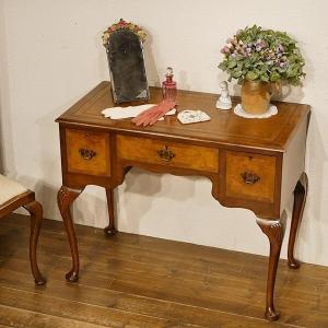 英国イギリスアンティーク家具 デスク ホールテーブル マホガニー材 天板本革 クイーンアン 猫脚 8660|qs-antiques