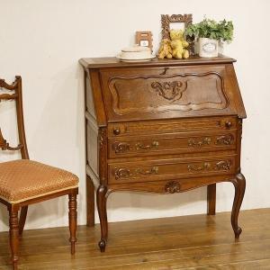 フランスアンティーク家具 仏 ライティングビューロー デスク 机 オーク材のきれいな杢目 猫脚 8661|qs-antiques