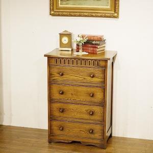 英国イギリスアンティーク家具 美しい杢目 オーク材チェスト 4段 樫 楢 タイガーオーク 8704 qs-antiques
