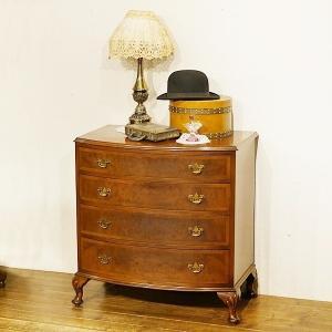 英国イギリスアンティーク家具 杢目のきれいなボウフロントチェスト 8766 qs-antiques