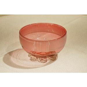 英国イギリスアンティーク 1880年代 ビクトリアン クランベリーガラスのボウル S113|qs-antiques