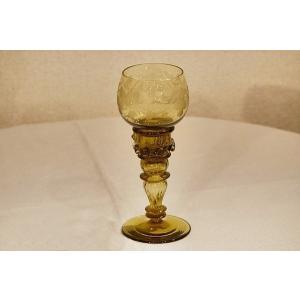 英国イギリスアンティーク ゴブレット ブドウ柄エッチング ワイングラス S115|qs-antiques