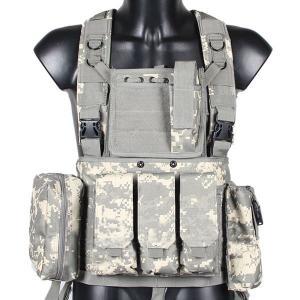 チェストリグ ACU迷彩 アーマーベスト サバゲー 装備 サバイバルゲーム M4 AK PMC ミリタリー 海兵隊|qualite21