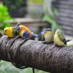 かわいい小鳥のオブジェ 4匹セット 置物 雑貨 インテリア 飾り 庭 ガーデニング|qualite21