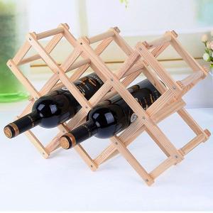 おしゃれなワインラック 木製折りたたみ式 10本用 インテリア ホルダー|qualite21