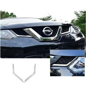 日産 エクストレイル T32型 X-TRAIL フロントグリル ガーニッシュ 鏡面メッキ仕上げ Nissan アクセサリー 保護 ドレスアップパーツ 取り付け カスタム シルバー qualite21