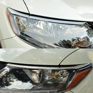 日産 エクストレイル T32型 X-TRAIL ヘッドライト アイライン ガーニッシュ カバー 鏡面メッキ仕上げ Nissan アクセサリー 保護 取り付け/カスタム シルバー|qualite21
