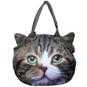 猫顔がかわいいがま口バッグ ネコ耳 ねこ 可愛い おしゃれ カバン トート 手提げ アニマル 転写|qualite21