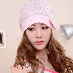 可愛いピンクの医療用帽子 ケア帽子 ドット柄 リボン コットン キャップ 抗がん剤治療 水玉|qualite21