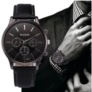MiGEER メンズ 腕時計 レザーバンド 革 ベルト かっこいい 黒 ブラック 人気 おしゃれ 安い 20代 30代 40代|quart2