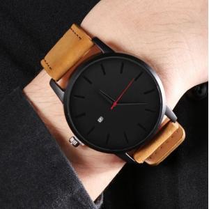 メンズ 腕時計 大きい シンプル カレンダー 黒 ブラック 革 ベルト 人気 おしゃれ かっこいい 珍しい 安い 20代 30代 40代 50代|quart2