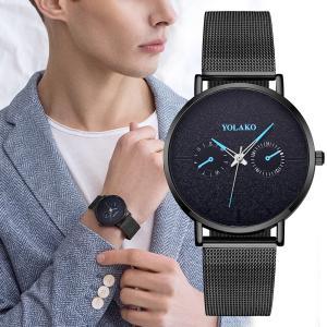 YOLAKO メンズ 腕時計 おしゃれ 人気 シンプル かっこいい 安い プチプラ 黒 ブラック メッシュバンド クロノグラフ風 ブランド|quart2