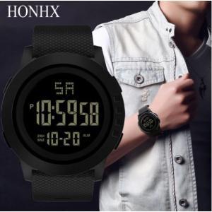 HONEX メンズ 腕時計 デジタル LED 防水 クロノグラフ カレンダー 黒 シンプル 安い 多機能 スポーツ 10代 20代 30代|quart2