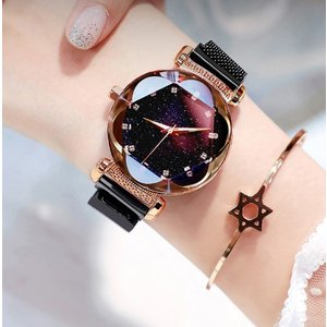 星空ウォッチ 星空腕時計 腕時計 レディース フラワーカット ラインストーン 生活防水 安い 星空 かわいい おしゃれ ギフト プレゼント|quart2