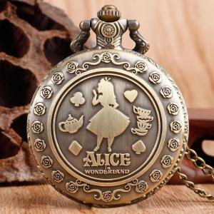 懐中時計 ポケットウォッチ アリス ウサギ 不思議の国のアリス アンティーク ゆめかわ 原宿系 かわいい レディース 安い ネックレス|quart2