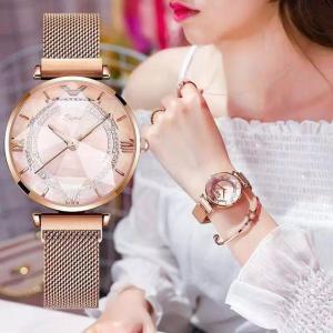 腕時計 レディース クリスタルウォッチ プチプラ 安い 上品 キラキラ 宝石 マグネット メッシュバンド 防水 星空ウォッチ|quart2