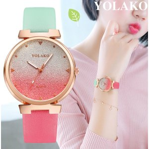 YOLAKO 腕時計 レディース かわいい キラキラ 大きめ ツートーンカラー レザーベルト グラデーション ファッションウォッチ|quart2