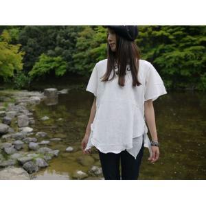 クアトロガッツ ふんわりシャツ イチバンニンキ Lコットン100%シャツ 白ブラウス 半袖