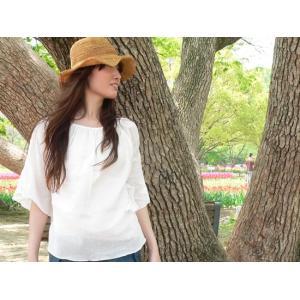 クアトロガッツ ふんわりシャツ フェミニン Lコットン100%シャツ 白ブラウス 半袖