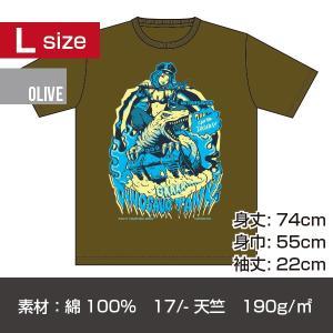 恐竜戦車 プリントT-シャツ/オリーブ Lサイズ|quattroline