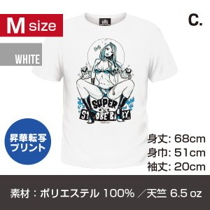 B.B 昇華転写プリントT-シャツ/ホワイト Mサイズ C柄|quattroline