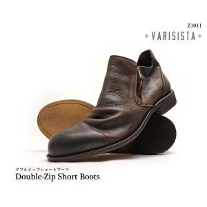 ヴァリジスタ VARISISTA  靴 メンズ靴 ダブルジップショートブーツ レザー 国産 Made in Japan Z1011 (Z1011/Z10110,BK/BR/DBR) 【送料無料】|queen-classico
