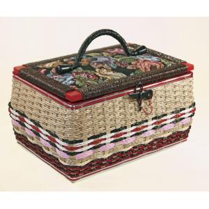 ★昔懐かしい手編み裁縫箱 ソーイングセット付き★63707 【送料無料】の写真