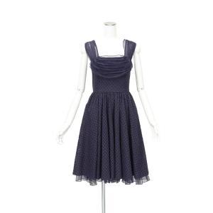 アンソロポロジー 紺 綿 シルク ノースリーブ フレア ロング ワンピース ドレス Aライン Mサイズ 1点物 queenandking