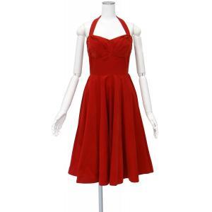 アンソロポロジー ワンピース 赤 コットン コーディロイ ホルターネック フレアー ロング ドレス Mサイズ queenandking