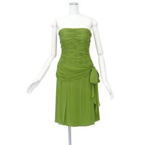アンクライン グリーン ストラップレス シルク ワンピース ドレス ひざ丈 フレアー Mサイズ 1点物 queenandking