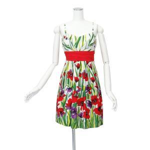 花柄 エンパイア ウエスト ドレス ワンピース コットン 100% Mサイズ queenandking