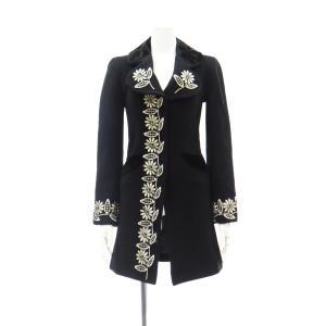 レディース コート ウール ブラック 黒 レディース コート 丸襟 襟 長袖 アウター 7部丈 膝下丈 膝丈 XSサイズ|queenandking
