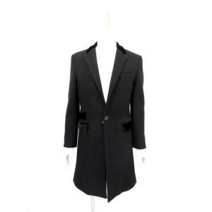 メンズ コート チェスターコート ロング シングル ウール 黒 サイズS 44|queenandking