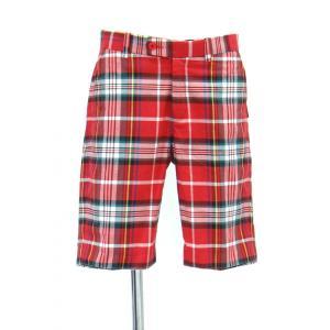 メンズ パンツ ハーフ ショート パンツ チェック柄 膝丈 赤 緑 青 黄色 白 黒 Sサイズ|queenandking