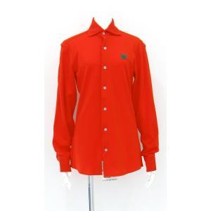 ポロシャツ 無地 ホリゾンタルカラー 長袖 前開き 鹿の子 オレンジ Lサイズ KING AND QUEEN|queenandking