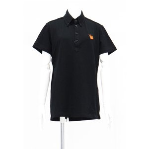 ポロシャツ 無地 ボタンダウンカラー 半袖 4つ釦 鹿の子 黒 Lサイズ|queenandking