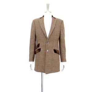 ロング ジャケット シングル チェック ウール メンズ コート チェスターコート チェック柄 メンズ サイズS 44|queenandking